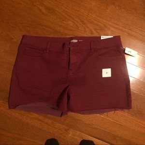 NWT BURGUNDY DENIM SHORTS